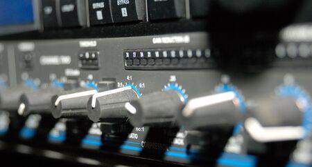 Audio effects processors in a rack. Sound Recording Equipment (Media Equipment). Recording studio.