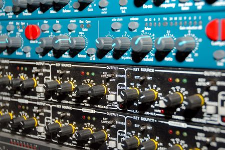 Audio effects processors in a rack. Sound Recording Equipment (Media Equipment). Recording studio.