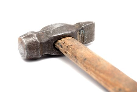 whack: Old hammer with wood handle on white background Stock Photo