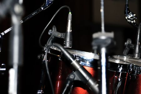 Set of drums on stage, black background Stock Photo - 5269851