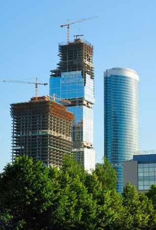 busines: Construction of skyscrapers from glass, a steel and concrete of a complex of the international business centre Moscow-city, Moscow, Russia