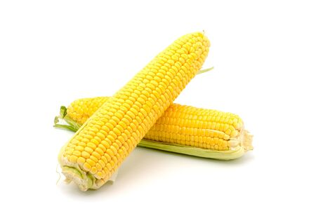 Corn on the cob isolated on white background photo