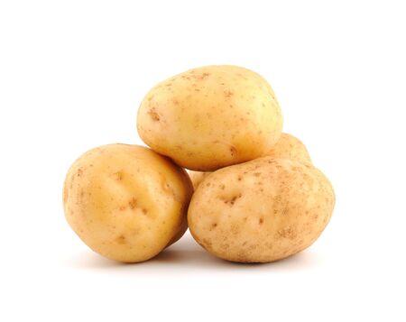 russet potato: Heap of potato isolated on the white background Stock Photo