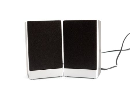 Two loudspeakers boxes isolated on white background. photo