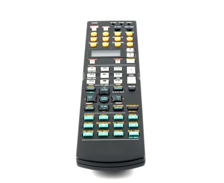 changing channel: Remote control panel on a white background