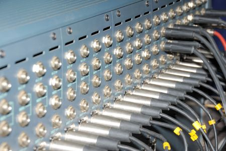 Mixing Sockets. Connections of a sound equipment proffesional xrl audio patch panel. Stock Photo - 5703299