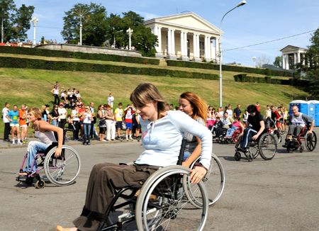 Volgograd, Russia - August 06, 2008 - City Day holiday. Arrival of invalids on wheelchair.
