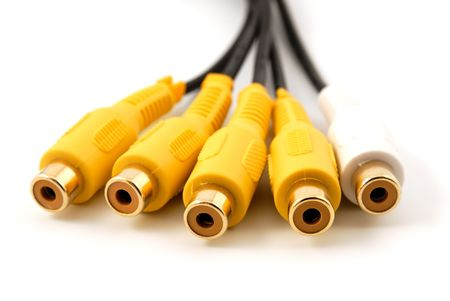 Yellow white RCA audio video plug connectors on a white background photo
