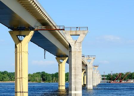Construction of a new bridge over the river Volga, Russia photo