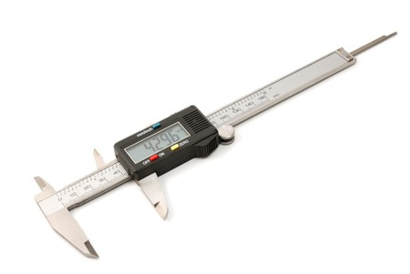 Electronic digital caliper isolated on white background. The precision tool. photo