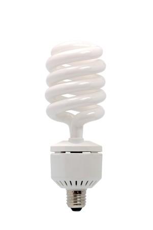 ahorro energia: Ahorro bombilla fluorescente (CFL) aislado en un fondo blanco de energ�a.