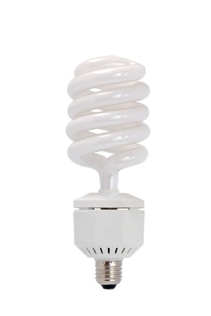 Energy saving fluorescent  light bulb (CFL) isolated on a white background. photo