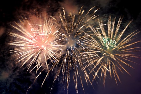 Beautiful fireworks on black sky. Colorful fireworks. Great for Independence Day, New Years Eve or any other celebration. photo