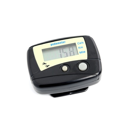 Digital Pedometer isolated on a white background. Stock Photo