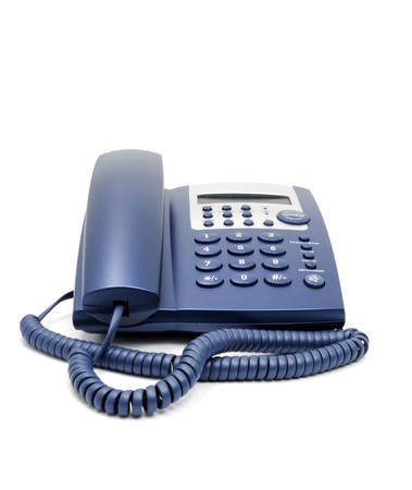 Modern blue business office telephone isolated on a white background.