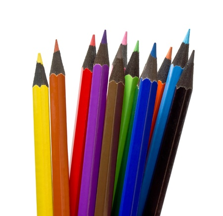 Assortment of coloured pencils on white background Stock Photo - 10223480