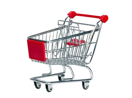 Empty shopping cart isolated on white background photo