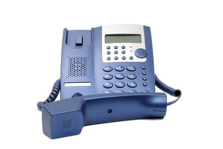 Modern blue business office telephone isolated on a white background. Stock Photo - 13565100