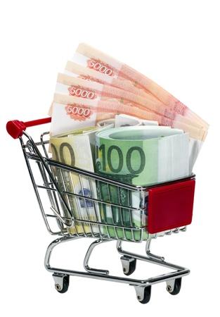Shopping Cart with money isolated on white background Stock Photo - 13565135