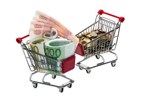 Shopping Cart with money isolated on white background photo