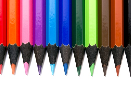 Assortment of coloured pencils on white background Stock Photo - 13565139
