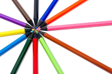 Assortment of coloured pencils on white background Stock Photo - 13565078