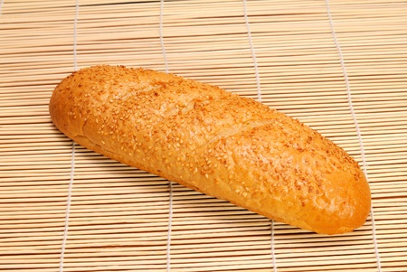 Mini French bread baguette with sesame seeds photo