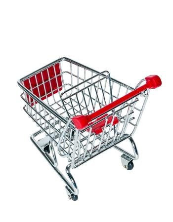 Empty shopping cart isolated on white background photo