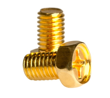 Two gold hexagon head bolt isolated on a white background photo