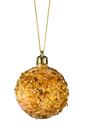 Golden christmas ball isolated on a white background photo