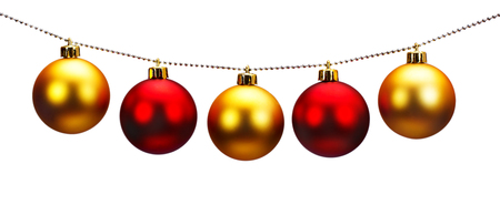 Golden and red Christmas balls isolated on a white background photo