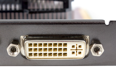dvi: DVI video card connector for connecting modern monitor Stock Photo