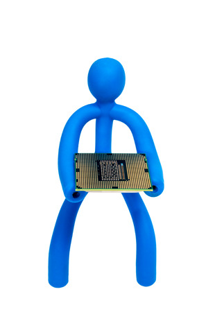Blue rubber man keeps the processor isolated on white background photo
