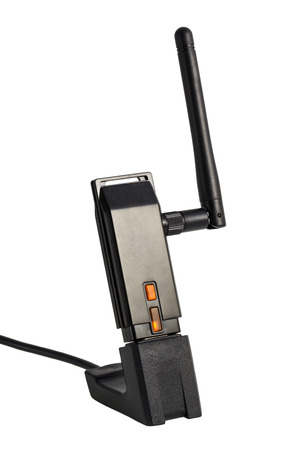 wlan: Wi-Fi Wireless USB Adapter isolated on white background Stock Photo