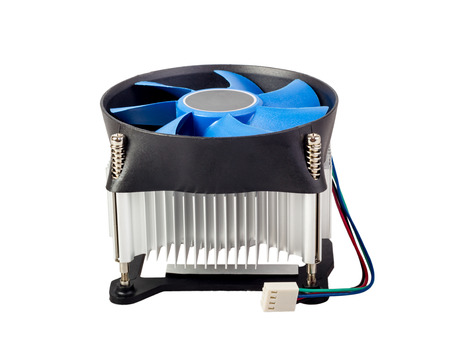 Close-up shot of computer CPU cooler isolated on a white background photo