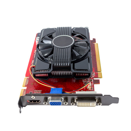 pci card: Computer video card isolated on the white background Stock Photo