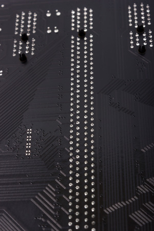 Close up shot of the backside computer mainboard photo
