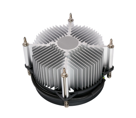 computer cpu: Close-up shot of computer CPU cooler isolated on a white background