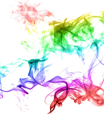Abstract multicolored smoke on a light background photo