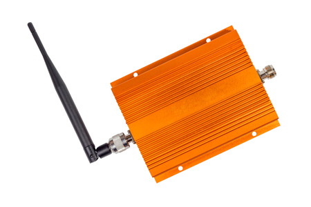repeater: Amplifying signal repeater for GSM cellular phone with antennas mounted isolated on white background Stock Photo