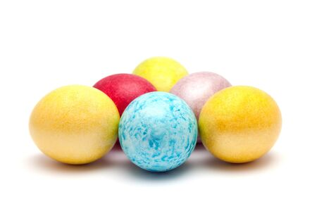 Coloured eggs for easter on white background photo