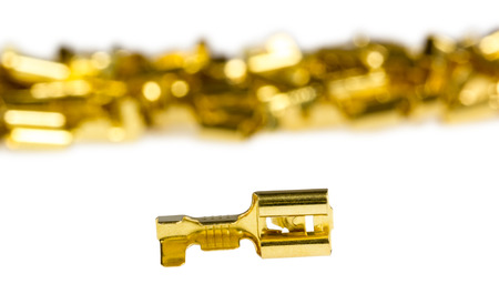 electrical component: Electrical component bronze cable terminal connector isolated on a white background