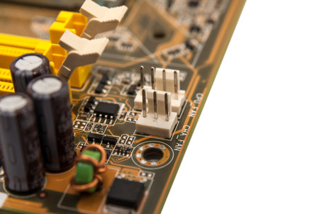 Electronics components on modern PC computer mainboard Stock Photo