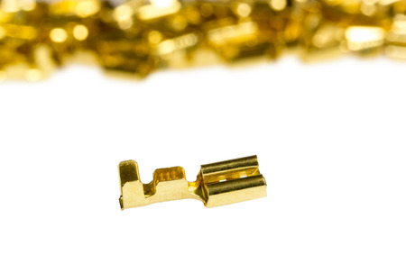 Electrical component bronze cable terminal connector isolated on a white background photo