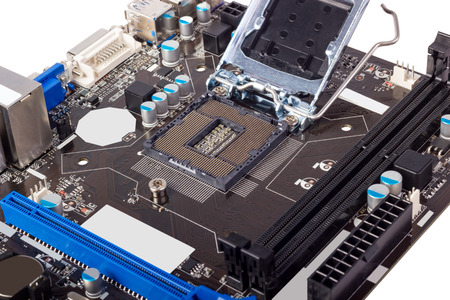 microelectronics: Empty CPU processor socket with pins on motherboard