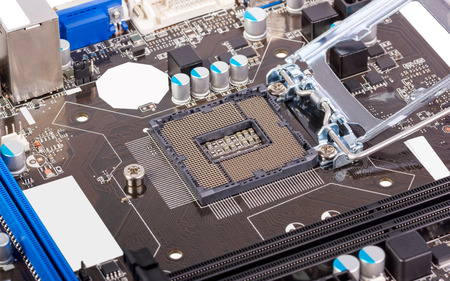 repair computer: Empty CPU processor socket with pins on motherboard