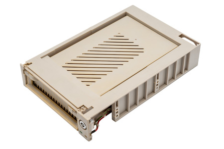 harddisc: Electronic collection - Used old mobile hdd rack internal box isolated on white background