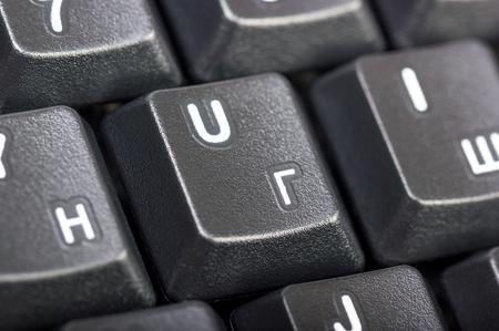 klawiatury: Kolekcja elektroniczny - detal czarnym klawiatury komputera z rosyjskiego pisma