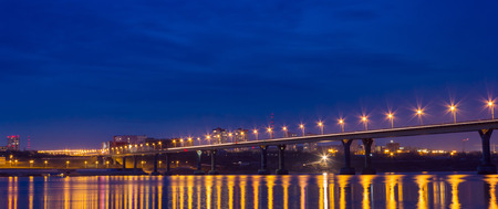 volgograd: Reflection lights of the night city in a big river Stock Photo