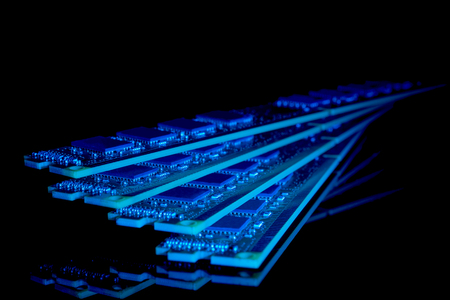 dimm: Electronic collection - computer random access memory (RAM) modules on the black background toned blue